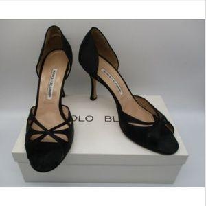 MANOLO BLAHNIK Butterflop black satin D'orsay pump
